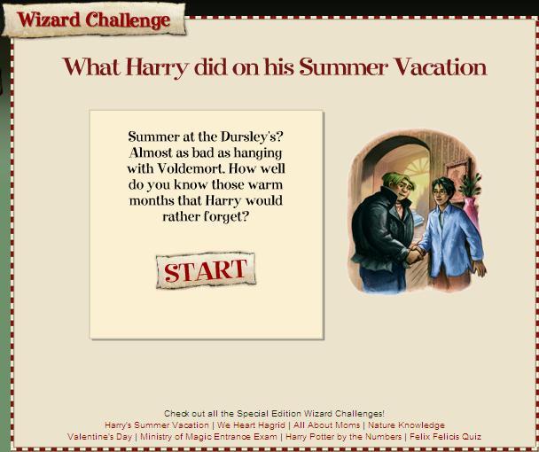 Quiz de Verano en Website Oficial de Scholastic