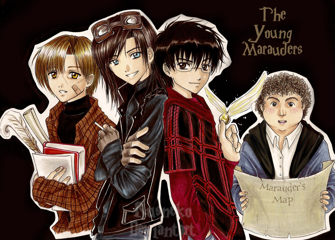 Harry Potter anime [Megapost] _young_marauders__by_rusneko
