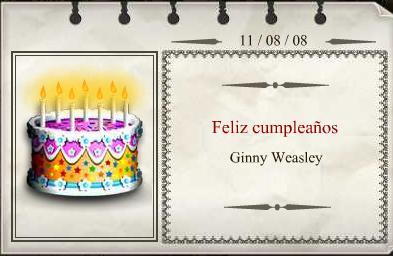 Cumpleaños Ginny Weasley