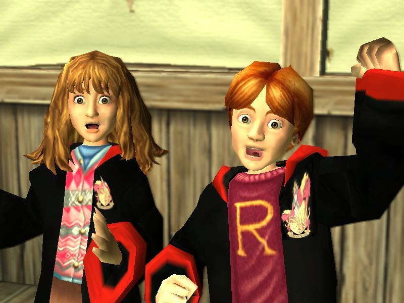 Ron y Hermione festejando