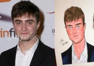 Original y Caricatura de Daniel Radcliffe