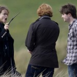 """Bellatrix"" (Hermione transformada), Ron y Harry"