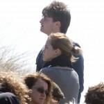 Daniel Radcliffe y Emma Watson rodando escenas de Harry Potter y las Reliquias de la Muerte