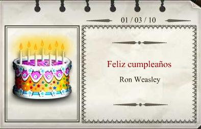 Harry Potter Cumpleaños Ron