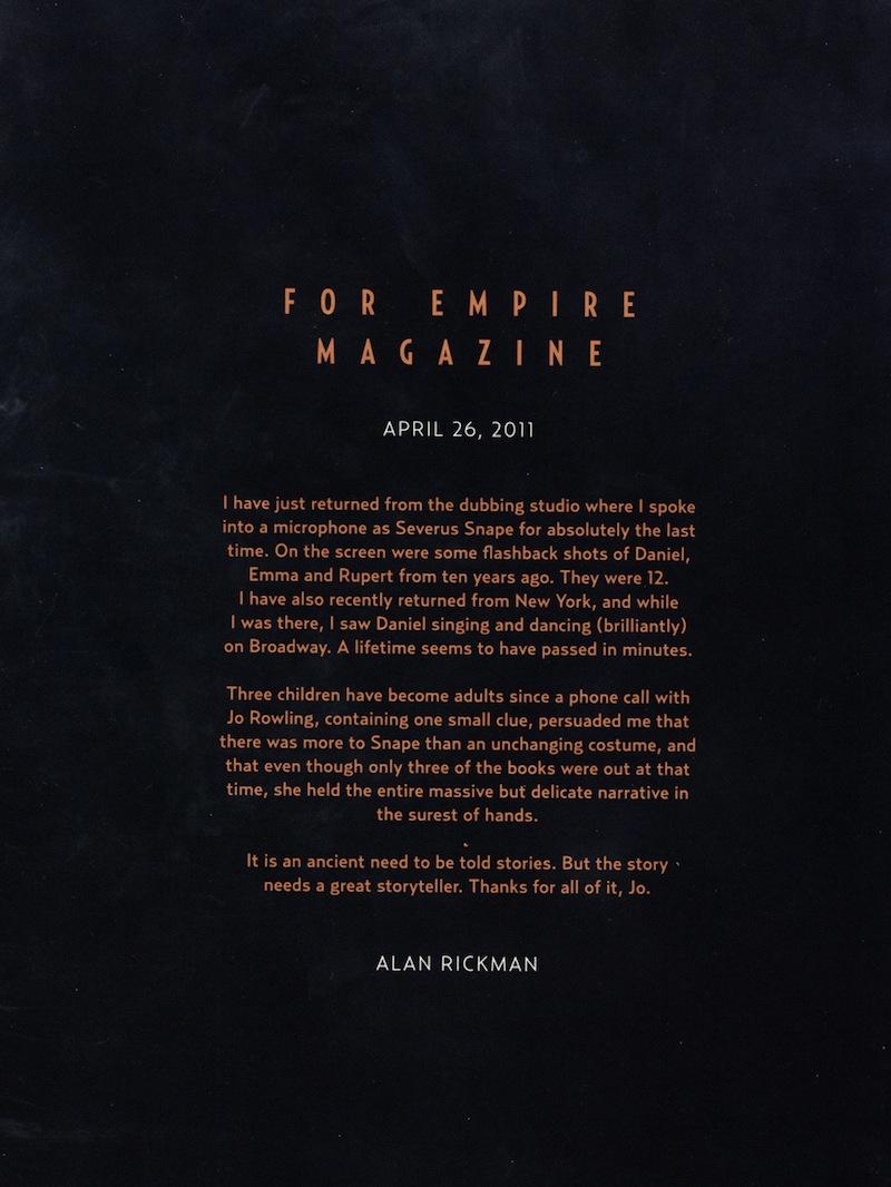 Harry Potter BlogHogwarts Carta de Alan Rickman