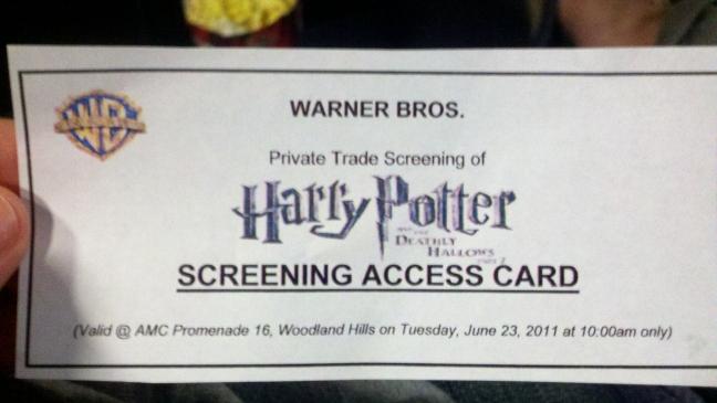 Harry Potter BlogHogwarts HP7 TV Screen Card