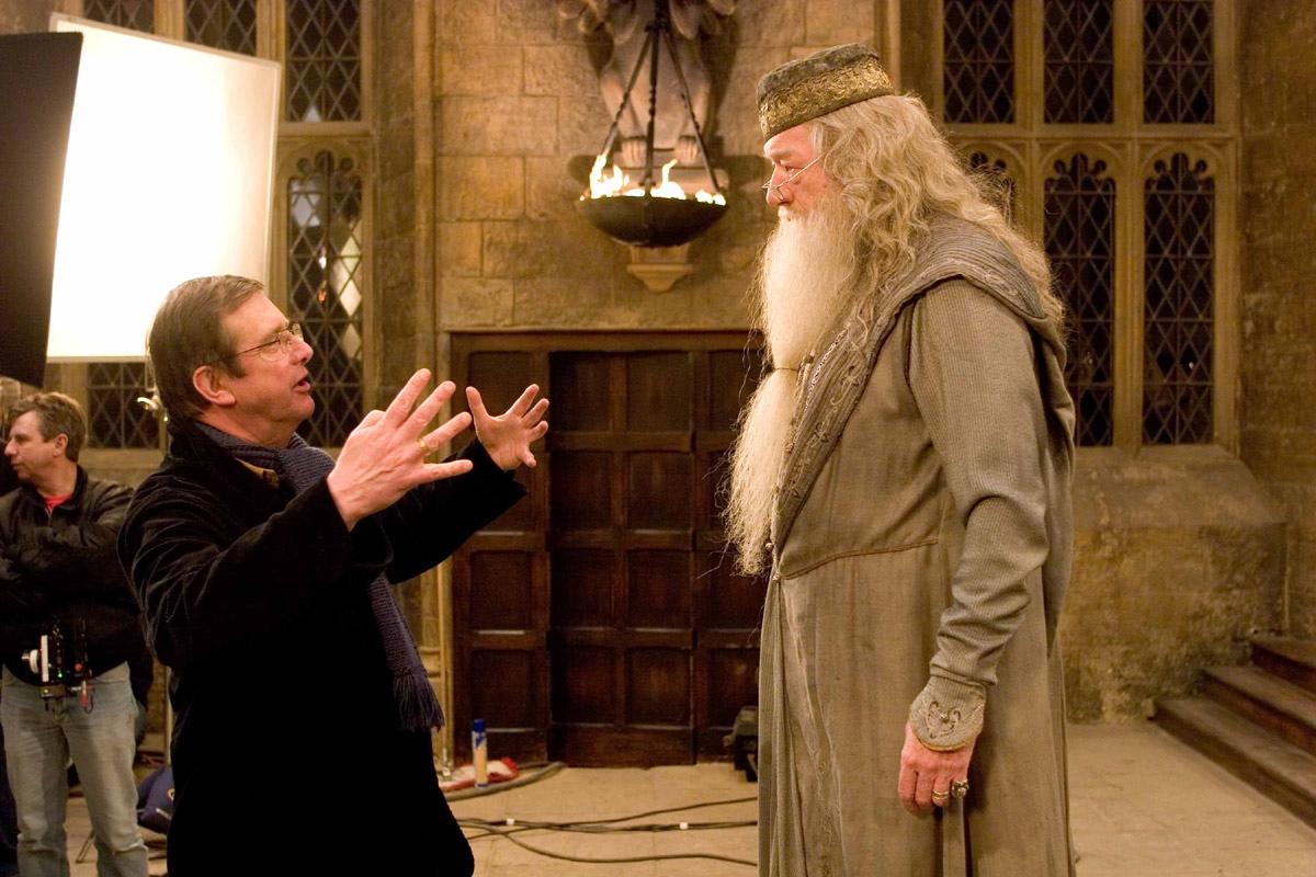 Mike Newell y Michael Gambon (Dumbledore)