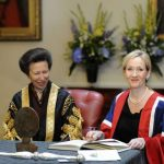 Britain's Princess Anne presents author JK Rowling with a University Benefactor's award, at the University of Edinburgh, in Edinburgh