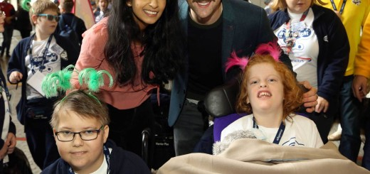 Dreamflight charity trip. Konnie Huq (centre left) and Matthew Lewis (centre right), as the Dreamflight children are sent off on their trip from Heathrow Airport in London to Orlando in Florida, USA. Picture date: Sunday October 18, 2015. The young passengers have been hand-picked to join the ten-day holiday by doctors and medical experts, having battled with serious illness, disability and trauma. See PA story CHARITY Dreamflight. Photo credit should read: Steve Parsons/PA Wire URN:24465237