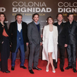 BERLIN, GERMANY - FEBRUARY 05: (L-R) Vicky Krieps, Michael Nyqvist, Daniel Bruehl, Emma Watson, Florian Gallenberger and Benjamin Herrmann attend the 'Colonia Dignidad - Es gibt kein zurueck' Berlin Premiere on February 5, 2016 in Berlin, Germany. (Photo by Franziska Krug/Getty Images)